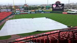 This is what the field looked like when I got to the ballpark today. It got better and the Bisons won their fifth game in a row.