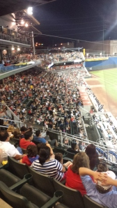 The fans on the third-base side, late in a game at Southwest University Park.