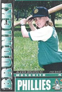 My first baseball card, as a member of the McMahon Phillies in the Eager Beaver Baseball Association.