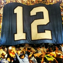 I might have become one of the hundreds of thousands of 12th man fans out there, at least briefly. This is the Spirit of 12 Wall, in the stadium.