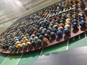 Wall of football helmets. Duh.