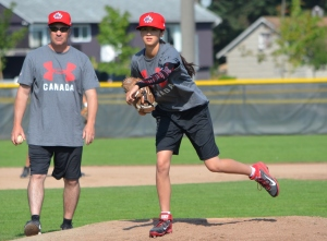 Claire Eccles, a 16-year-old pitcher from Surrey, BC, and the only lefty thrower on the team.