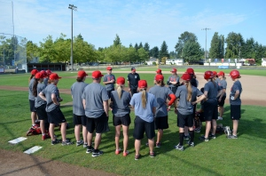 The Women's National Team on the last day of training camp at Whalley Athletic Park in Surrey, BC.