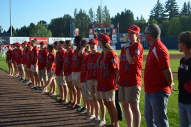The Canadian women on their way to the World Cup in Miyazaki, Japan, on the field before the Vancouver Canadians game.