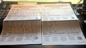 My double scorecard from the longest game in Toronto Blue Jays history.