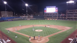 Southwest University Park at night.