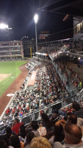 The fans on the first-base side, late in a game at Southwest University Park.