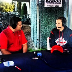 Amanda Asay of the Women's National Team on the pre-game radio show for the Vancouver Canadians.