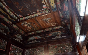 The beautifully painted ceiling at one of the temples.
