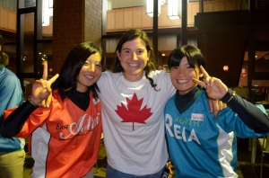 The variety of jerseys made me think that the players were from two different teams. Jen Gilroy in the middle.