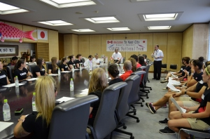 The Canadian Women's National Team with the Mayor of Kazo City, Japan.