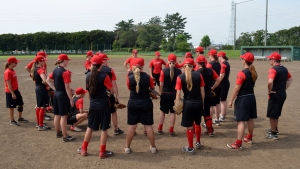 The first practice for Team Canada in Japan. Note how much darker the dirt is, plus the all-dirt infield.