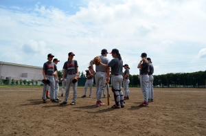 Just before game time against the Japanese University All-Stars.