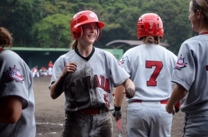 One of the best pictures of the game, of Nicole Luchanski coming into the dugout after scoring.
