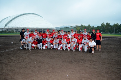 The Nichinan Gakuen high school team with the Canadian Women's National Team.